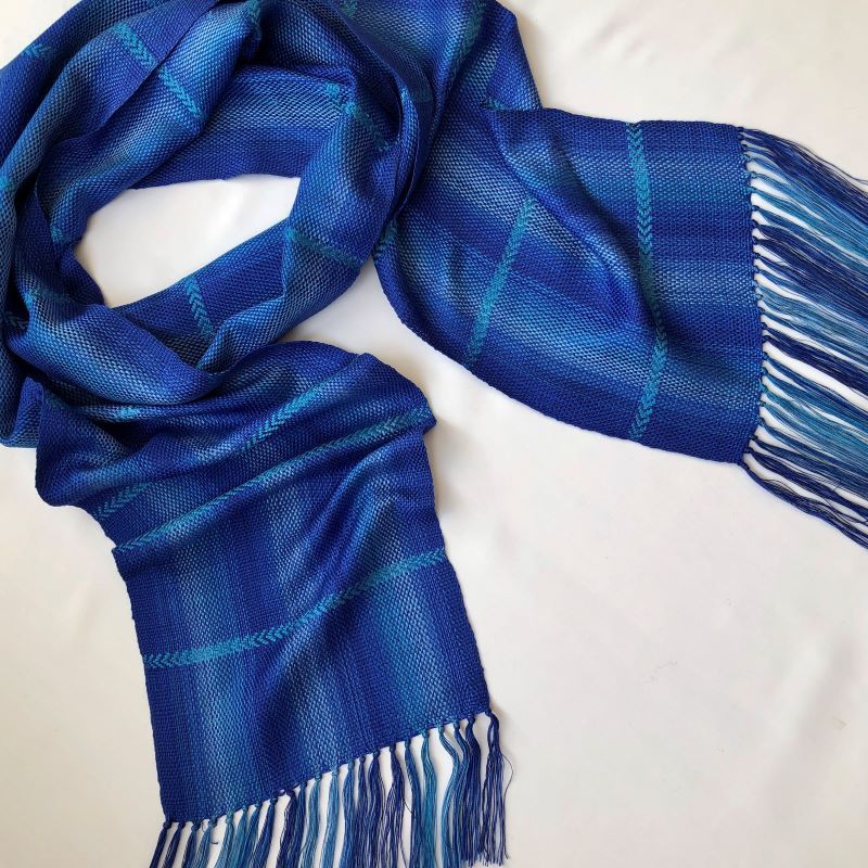 Silk Arrow Scarf - blue