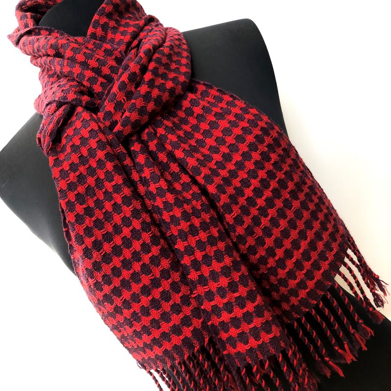 Silk Lattice Scarf - aubergine/red